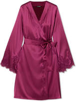 I.D. Sarrieri Chantilly Lace-trimmed Silk-blend Satin Robe