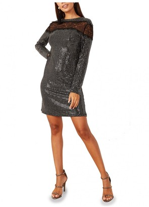 Mimi + Alice Alexia Lace Detailed Sequin Dress