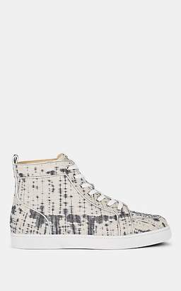 Christian Louboutin Men's Rantus Flat Lurex Sneakers - Gray