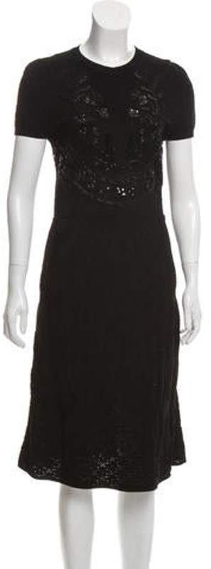 Valentino Bead-Embellished Midi Dress Black Bead-Embellished Midi Dress