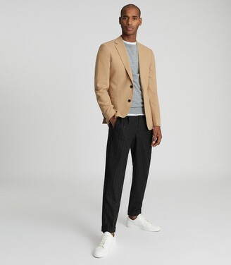 Reiss Piazetta - Brushed Wool Single Breasted Blazer in Camel