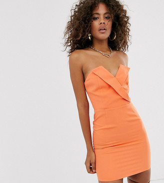 Club L London Tall wrapover tailored mini dress with boning in orange