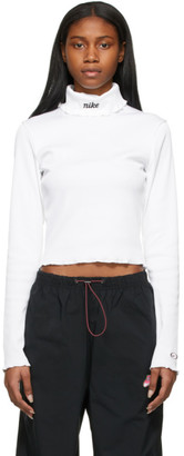 Nike White Ribbed Sportswear Essential Turtleneck