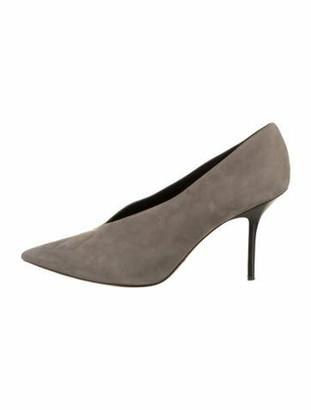 Celine V-Neck Suede Pumps Grey