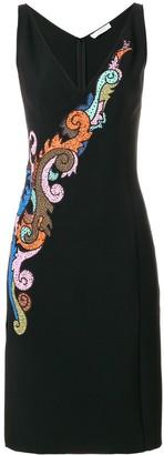 Versace Embroidered V-Neck Dress