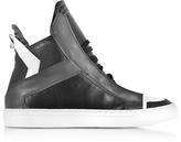 Ylati Zeus Black, Dark Grey and White Leather High Top Sneaker
