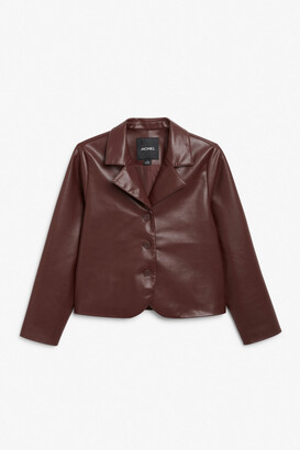 Monki Cropped faux leather jacket