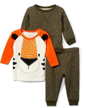 Baby Starters Boys' Casual Pants Green - Orange & White Tiger Tee Set - Infant