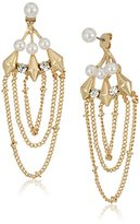 Steve Madden Pearl Chain Front To Back Drop Earrings