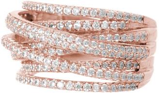 Sterling Forever 14K Rose Gold Vermeil CZ Pave Curved Band Ring