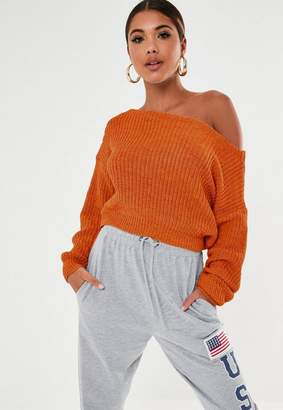 Missguided Petite Rust Off Shoulder Sweater