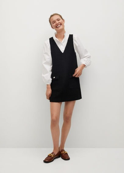 MANGO Tweed pinafore dress