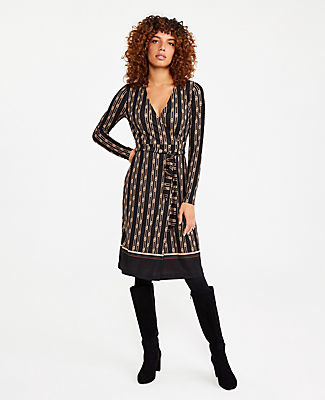 Ann Taylor Petite Chain Print Matte Jersey Wrap Dress