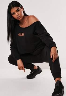 Missguided Plus Size Black Off The Shoulder Crop Sweatshirt