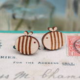 Bumble Bee Ginger Pickle Wooden Earrings