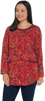 Denim & Co. Printed French Terry Long-Sleeve Tunic