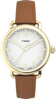 Timex Standard Leather Strap Watch, 34mm