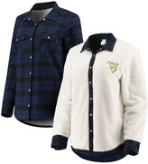Unbranded Women's Navy/Cream West Virginia Mountaineers Reversible Sherpa Flannel Long Sleeve Button-Up Shirt