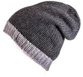 Black Two-Tone Grey Cashmere Slouch Beanie