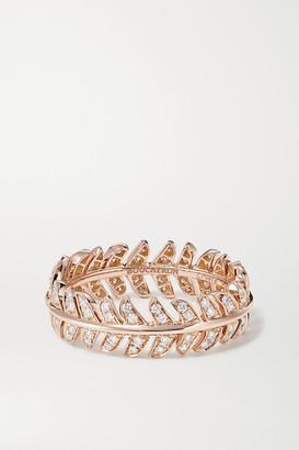 Boucheron Plume De Paon 18-karat Rose Gold Diamond Ring - 52