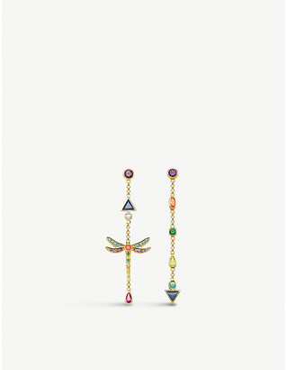 Thomas Sabo 18ct Yellow Gold-Plated Sterling Silver Multi-Coloured Drop Earrings