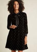 ModCloth Velvet Burnout Shirt Dress with Neck Tie in 2X - Long A-line Knee Length
