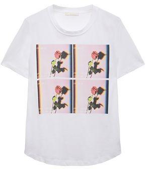 Maje Toula Printed Cotton-jersey T-shirt