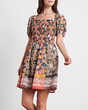 Velvet by Graham & Spencer Taria Cotton Printed Puff-Sleeve Dress
