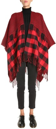 Woolrich Check Fringed Shawl Coat