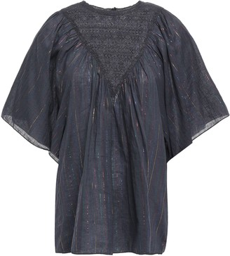 Antik Batik Lace-paneled Metallic Pinstriped Cotton-blend Blouse