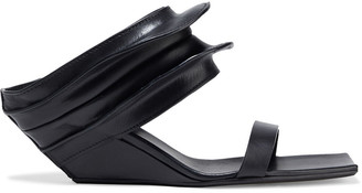 Rick Owens Gathered Leather Wedge Mules