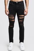 boohoo Mens Black Skinny Fit Rigid Heavily Distressed Jeans, Black