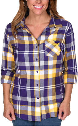 Ug Apparel Women Lsu Tigers Flannel Boyfriend Plaid Button Up Shirt