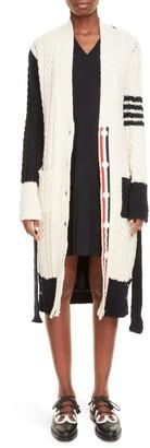 Thom Browne Colorblock Belted Wool & Mohair Longline Cardigan