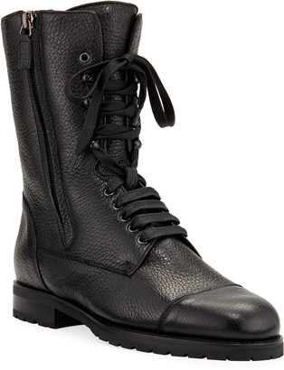 Manolo Blahnik Campcha Leather Lace-Up Boots