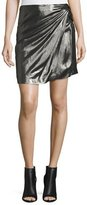 IRO Shanina Draped Lamé Skirt, Black/Silver