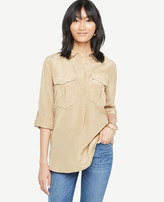 Ann Taylor Petite Shimmer Safari Button Down Shirt
