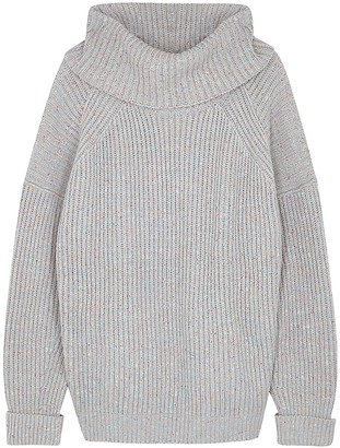 Free People Leo grey ribbed-knit cotton-blend jumper