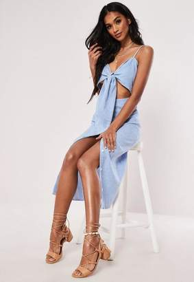 Missguided Blue Tie Front Button Down Strappy Midi Dress
