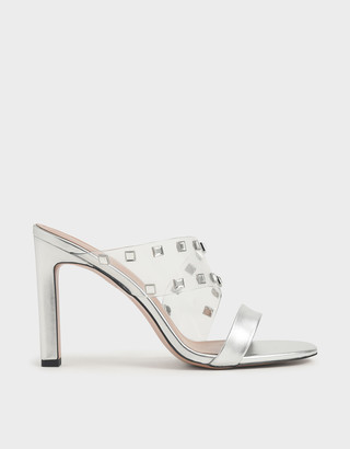 Charles & Keith Gem Embellished Asymmetric Strap Mules