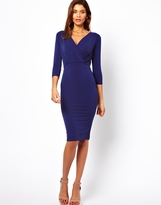 ASOS Pencil Dress With Wrap In Crepe - Blue