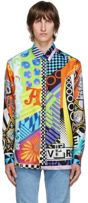 Versace Multicolor Silk Collage Shirt