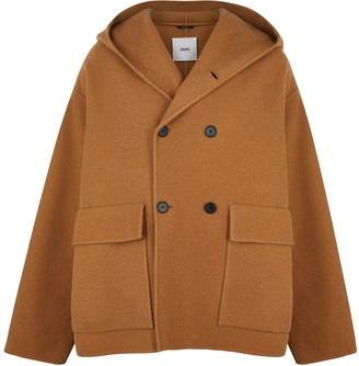 Oamc Camel double-breasted wool-blend coat