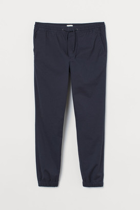 H&M Brushed Cotton Twill Joggers - Blue