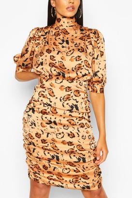 boohoo Animal Print Tie Neck Ruched Midi Dress