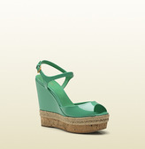 Gucci Hollie Jasmine Green Patent Leather Open Toe Wedge