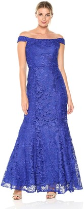 JS Collections Women's Off Shoulder Lace Gown