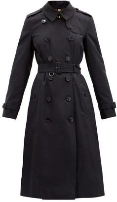 Burberry Chelsea Long Double-breasted Gabardine Trench Coat - Navy