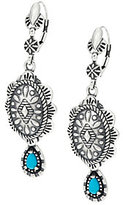 American West Sterling Silver Concha Design Turquoise Earrings