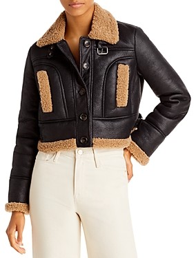 French Connection Belen Cropped Faux Fur Jacket